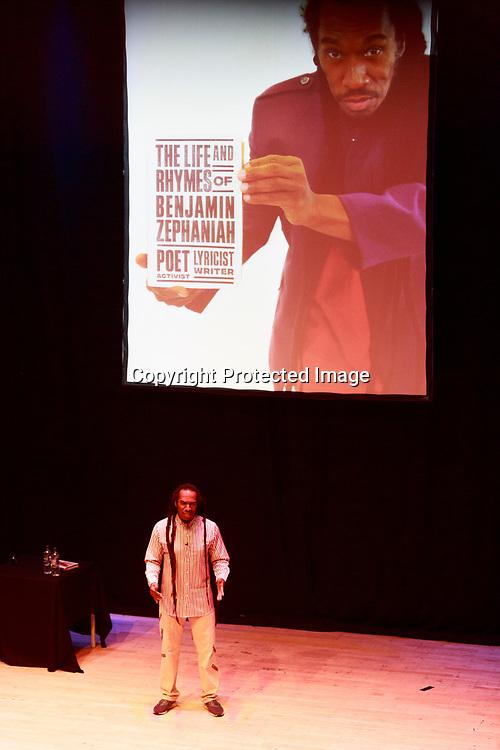 Edinburgh, Scotland. UK. 8 June 2018. Benjamin Zephaniah performs on stage at The Queen's Hall, Edinburgh. Benjamin Zephaniah promote his new book called The Life and Rhymes of Benjamin Zephaniah. Pako Mera