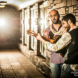Photoshoot with musicians Joao Lemos & Luis Manhita for the poster of their upcoming live performance at the Wales Millennium Centre in Cardiff, Wales, UK.