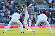 Alastair Cook of England leaves a ball bowled by Jasprit Bumrah of India during day two of the fourth SpecSavers International Test Match 2018 match between England and India at the Ageas Bowl, Southampton, United Kingdom on 31 August 2018.