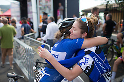 Tetyana Riabchenko (UKR) of Lensworld Zannata Cycling Team celebrates her second place with her teammate, Ekaterina Anoshina (RUS) after  Stage 8 of the Giro Rosa - a 141.8 km road race, between Baronissi and Centola fraz. Palinuro on July 7, 2017, in Salerno, Italy. (Photo by Balint Hamvas/Velofocus.com)
