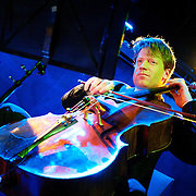 January 8, 2012 - Manhattan, NY : The Calder Quartet's  Eric Byers (cello) performs with Andrew W.K. (not pictured) at Le Poisson Rouge in Manhattan on Sunday evening.  CREDIT: Karsten Moran for The New York Times