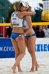 Sara Goller and Laura Ludwig of Germany at CEV European Continental Beach Volleyball Cup for Olympic Qualification, on September 5, 2010, in Zrece, Slovenia. (Photo by Matic Klansek Velej / Sportida)