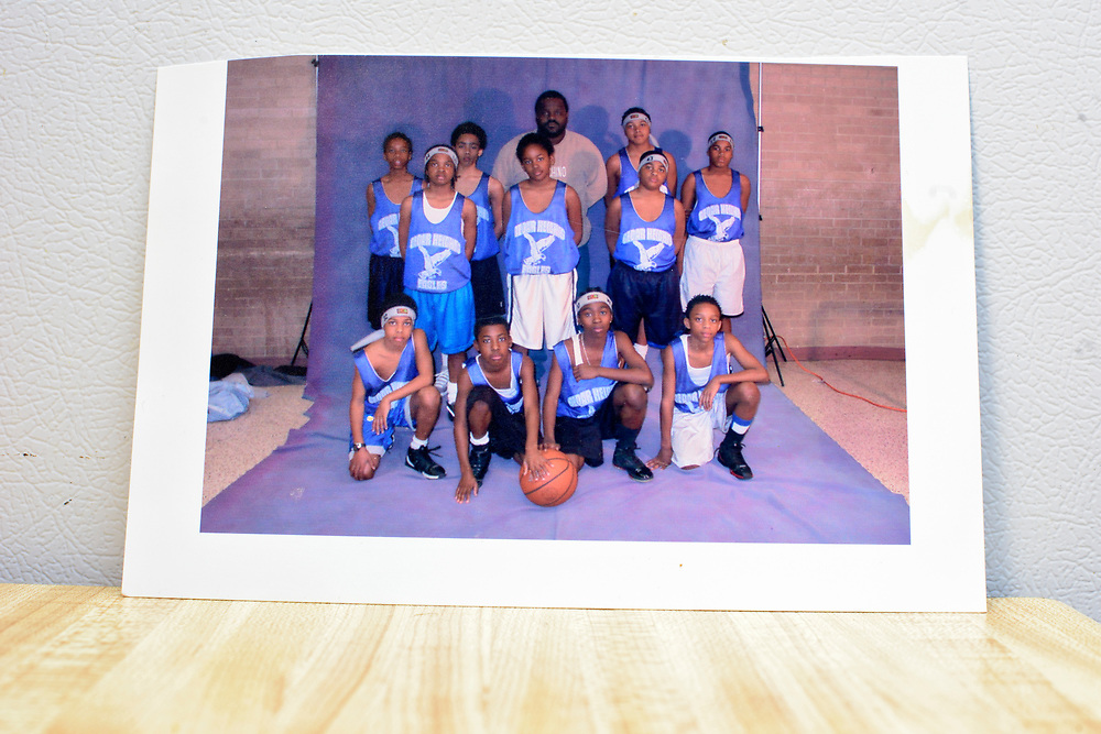 Washington, D.C. - April 03, 2017:  A photo of Charles &quot;Chuckie&quot; Craig with one of his AAU teams. Kevin Durant was not on this team.<br /> <br /> The photo was provided by Claudette Craig, Chuckie's mother. She's lost two of her five children to gun violence. Charles &quot;Chuckie&quot; Craig, Kevin Durant's coach and mentor, was gunned down April 30th, 2005 in Laurel, Md., at the age of 35. Durant wears #35 as tribute to Craig.<br /> <br /> Her eldest, Ryan, a marine, was killed during a family visit to Georgia by a rival of his cousin when he was 20-years-old. <br /> <br /> NBA Superstar Kevin Durant's jersey number &quot;35&quot; is a tribute to his rec. league coach and mentor Charles &quot;Chuckie&quot; Craig, who was gunned down in at a night club in Laurel, Md., in 2005 when he was 35 years old. <br /> <br /> CREDIT: Matt Roth for The New York Times<br /> Assignment ID: 30204524A