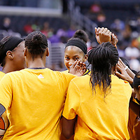 15 August 2014:  Los Angeles Sparks players gather prior to the Los Angeles Sparks 77-65 victory over the Seattle Storm, at the Staples Center, Los Angeles, California, USA.