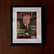 DORAL, FLORIDA, JUNE 24, 2017<br /> Framed portrait of President Donald Trump on the cover of a TIME Magazine hanging from a column in the Champions Sports Bar &amp; Grill at the Trump National Doral Miami.<br /> (Photo by Angel Valentin/Freelance)