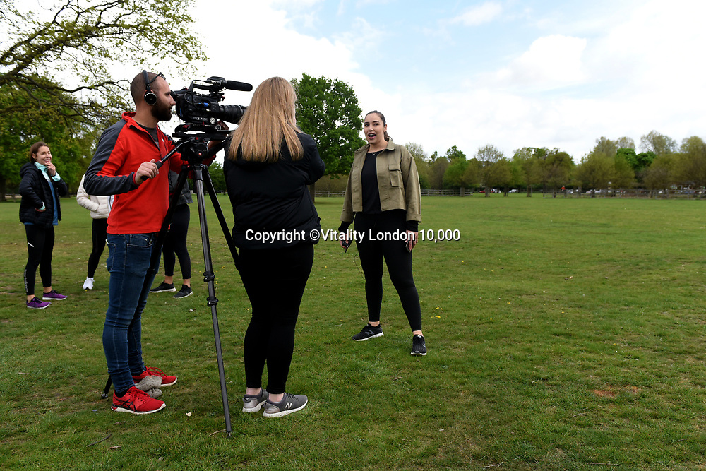 Jada Sezer (R) Celebrate You Training Session with Tim Weeks in Richmond Park, Surrey - preparing runners for The Vitality London 10,000, which will take place on Monday 27th May 2019. Friday 26 April 2019<br /> <br /> Photo: Kate Green for Vitality London 10,000<br /> <br /> For further information: media@londonmarathonevents.co.uk