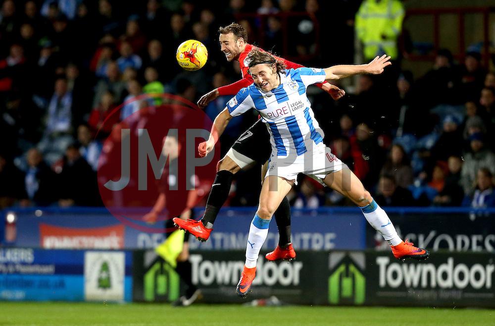 Glenn Murray of Brighton & Hove Albion beats Michael Hefele of Huddersfield Town to a header - Mandatory by-line: Robbie Stephenson/JMP - 02/02/2017 - FOOTBALL - John Smith's Stadium - Huddersfield, England - Huddersfield Town v Brighton and Hove Albion - Sky Bet Championship