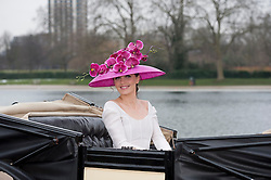 "© Licensed to London News Pictures. 24/01/2013. London, United Kingdom. Ascot launches captivating new campaign image for Royal Ascot 2013 Royal Meeting.  Celebrated cycling Olympian, Victoria Pendleton, launches the Royal Ascot 2013 campaign ""The Colour and the Glory"" in Londons Hyde Park wearing Emilia Wickstead and Philip Treacy. Photo credit : Justin Setterfield/LNP"
