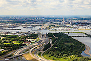 Nederland, Noord-Holland, Gemeente Amsterdam, 14-06-2012; Coenplein met Coentunnel en aanleg Tweede Coentunnel. Zicht op Het IJ en Noordzeekanaal.  .Amsterdam-North, Coen tunnel, harbour area...luchtfoto (toeslag), aerial photo (additional fee required);.copyright foto/photo Siebe Swart
