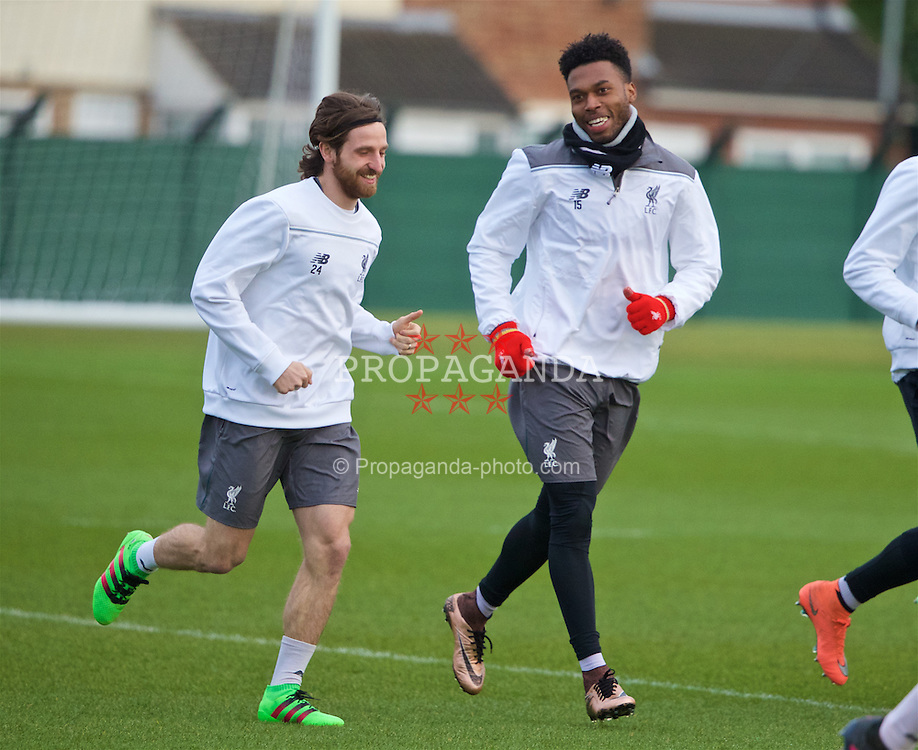 LIVERPOOL, ENGLAND - Wednesday, March 9, 2016: Liverpool's Joe Allen and Daniel Sturridge during a training session at Melwood Training Ground ahead of the UEFA Europa League Round of 16 1st Leg match against Manchester United FC. (Pic by David Rawcliffe/Propaganda)