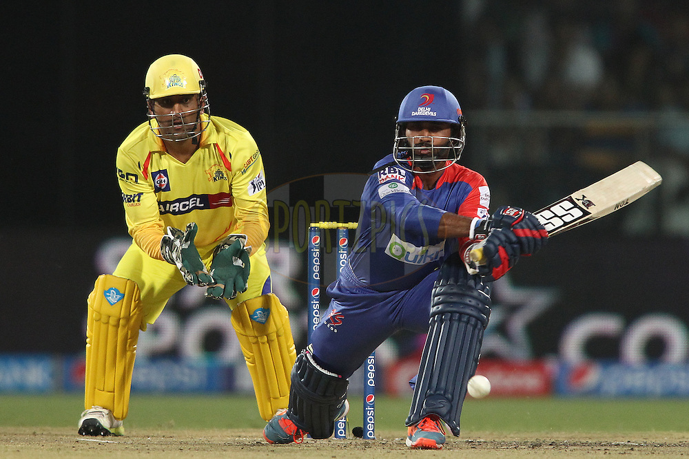 Dinesh Karthik of the Delhi Daredevils attempts to reverse sweep a delivery during match 26 of the Pepsi Indian Premier League Season 2014 between the Delhi Daredevils and the Chennai Super Kings held at the Feroze Shah Kotla cricket stadium, Delhi, India on the 5th May  2014<br /> <br /> Photo by Shaun Roy / IPL / SPORTZPICS<br /> <br /> <br /> <br /> Image use subject to terms and conditions which can be found here:  http://sportzpics.photoshelter.com/gallery/Pepsi-IPL-Image-terms-and-conditions/G00004VW1IVJ.gB0/C0000TScjhBM6ikg