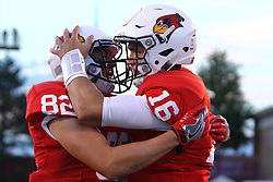 03 September 2016:  Anthony Warrum and Jake Kolbe celebrate after a score by Jake Kolbe. NCAA FCS Football game between Valparaiso Crusaders and Illinois State Redbirds at Hancock Stadium in Normal IL (Photo by Alan Look)