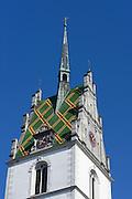 Turm der St. Nikolaus Kirche, Friedrichshafen, Bodensee, Baden-Württemberg, Deutschland