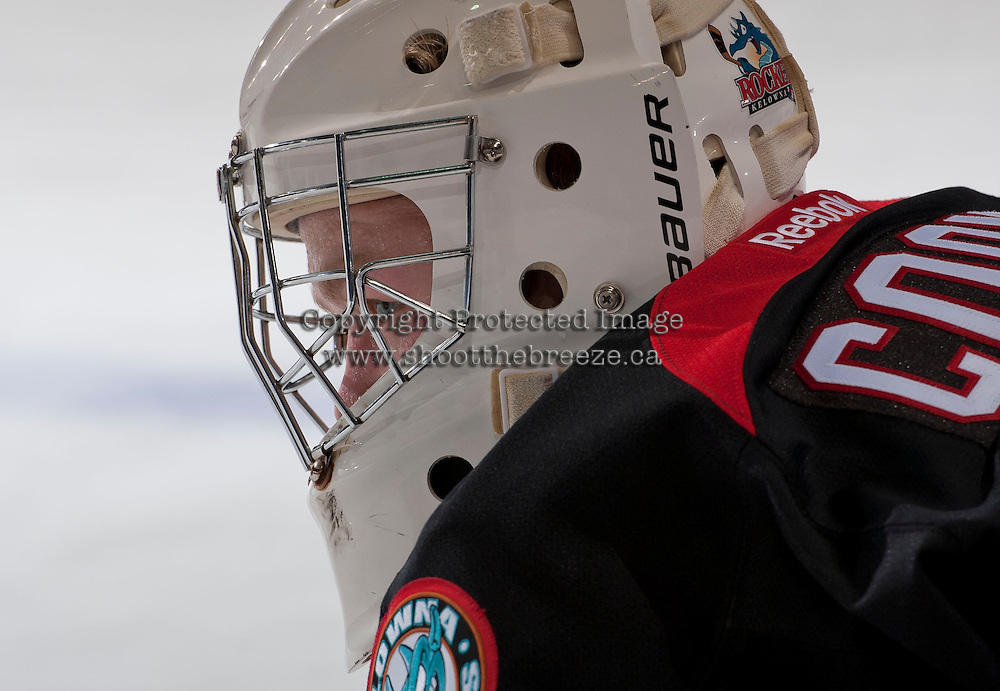 KELOWNA, CANADA - NOVEMBER 6: Jordon Cooke #30 of the Kelowna Rockets prepares for the game against the Red Deer Rebels on NOVEMBER 6, 2013 at Prospera Place in Kelowna, British Columbia, Canada.   (Photo by Marissa Baecker/Shoot the Breeze)  ***  Local Caption  ***   Jordon Cooke;