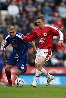 Photo: Rich Eaton.<br /> <br /> Bristol City v Crewe Alexander. Coca Cola League 1. 14/10/2006. Bristols goalscorer Scott Brown right takes on Crewes Ryan Lowe