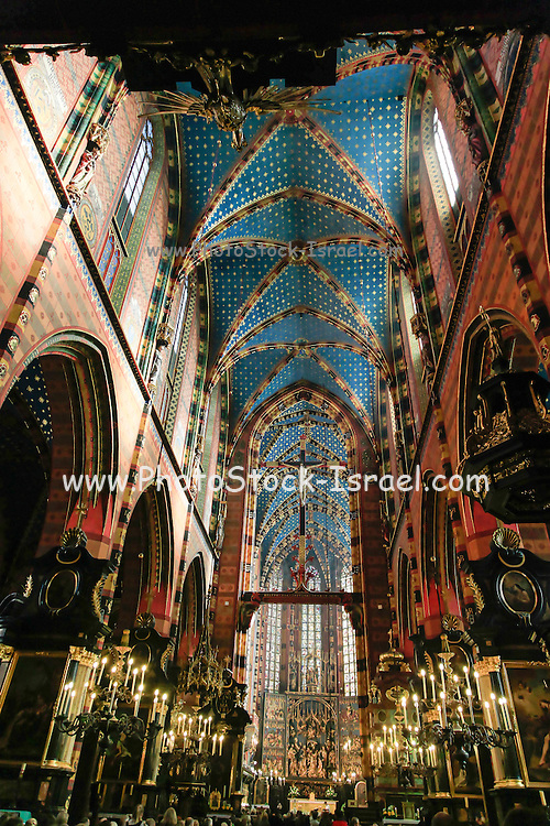 Interior of St Mary's church, Krakow, Poland
