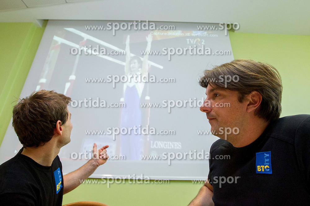 Mitja Petkovsek and his coach dr. Edi Kolar during press conference of Slovenian Gymnastic team after European Championship Montpellier 2012, on May 29, 2012 in City Hotel, Ljubljana, Slovenia.   (Photo by Vid Ponikvar / Sportida.com)