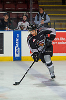 KELOWNA, BC - FEBRUARY 16:  Justin Sourdif #42 of the Vancouver Giants warms up with the puck on the ice against the Kelowna Rockets at Prospera Place on February 16, 2019 in Kelowna, Canada. (Photo by Marissa Baecker/Getty Images)