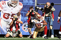 Oct 21, 2007: East Rutherford, NJ, USA: San Francisco 49ers wide receiver (83) Arnaz Battle poses after scoring a touchdown against the New York Giants during the first half at Giants Stadium. Giants won 33-15..