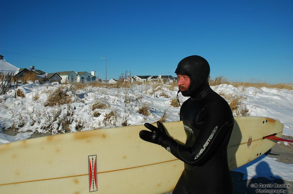 Finishing a frigid winter surf session, Ocean City, NJ