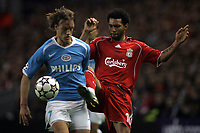 Photo: Paul Thomas.<br /> Liverpool v PSV Eindhoven. UEFA Champions League. Quarter Final, 2nd Leg. 11/04/2007.<br /> <br /> Jermaine Pennant (R) of Liverpool battles Mika Vayrynen.