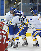 LSSU's Will Acton (left) and Zach Trotman (right) grab team mate Rick Schofield (center) after he score the game winning goal during the Lakers Friday night game against the visiting University of Nebraska-Omaha.