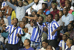 25042018 (Durban)Fans at the Mamelodi Sundowns look to edge closer to the Absa Premiership title when lock horns with Maritzburg United at Harry Gwala Stadiumm Pietermaritzburg on Wednesday night.Picture: Motshwari Mofokeng/ANA
