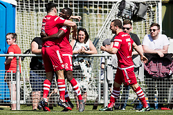 NEWTOWN, WALES - Sunday, May 6, 2018: Michael Baker of Connahs Quay Nomads celebrates scoring his sides first goal  with Michael Steele during the FAW Welsh Cup Final between Aberystwyth Town and Connahs Quay Nomads at Latham Park. (Pic by Paul Greenwood/Propaganda) Ryan Wignall