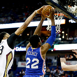 Dec 8, 2016; New Orleans, LA, USA; New Orleans Pelicans forward Anthony Davis (23) blocks a shot by Philadelphia 76ers forward Richaun Holmes (22) during the first quarter of a game at the Smoothie King Center. Mandatory Credit: Derick E. Hingle-USA TODAY Sports