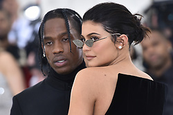 Travis Scott and Kylie Jenner walking the red carpet at The Metropolitan Museum of Art Costume Institute Benefit celebrating the opening of Heavenly Bodies : Fashion and the Catholic Imagination held at The Metropolitan Museum of Art  in New York, NY, on May 7, 2018. (Photo by Anthony Behar/Sipa USA)