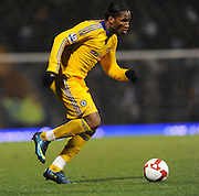 Didier Drogba (Chelsea)  runs with the ball during the Barclays Premier League match between Portsmouth and Chelsea at Fratton Park on March 3, 2009 in Portsmouth, England.
