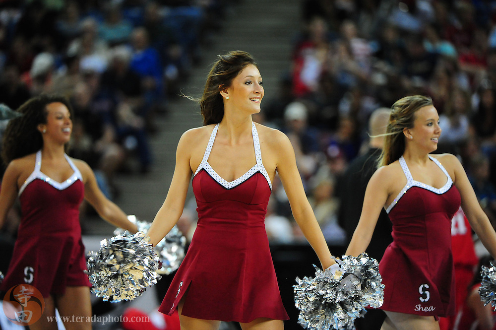 March 27, 2010; Sacramento, CA, USA; 2009-2010 Stanford Cardinal Dollies members Paula Markey (class of 2010, left), Elise Birkhofer (class of 2012, center), and Shea Ritchie (class of 2012, right) perform during the 2010 NCAA Division I Women's Basketball Sacramento Regional Sweet 16 game against the Georgia Bulldogs at Arco Arena. The Cardinal defeated the Bulldogs 73-36. Mandatory Credit: Kyle Terada-Terada Photo