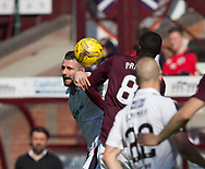 Dundee&rsquo;s Marcus Haber competes with Hearts&rsquo; Prince Buaben in the air - Hearts v Dundee in the Ladbrokes Scottish Premiership at Tynecastle, Edinburgh, Photo: David Young<br /> <br />  - &copy; David Young - www.davidyoungphoto.co.uk - email: davidyoungphoto@gmail.com