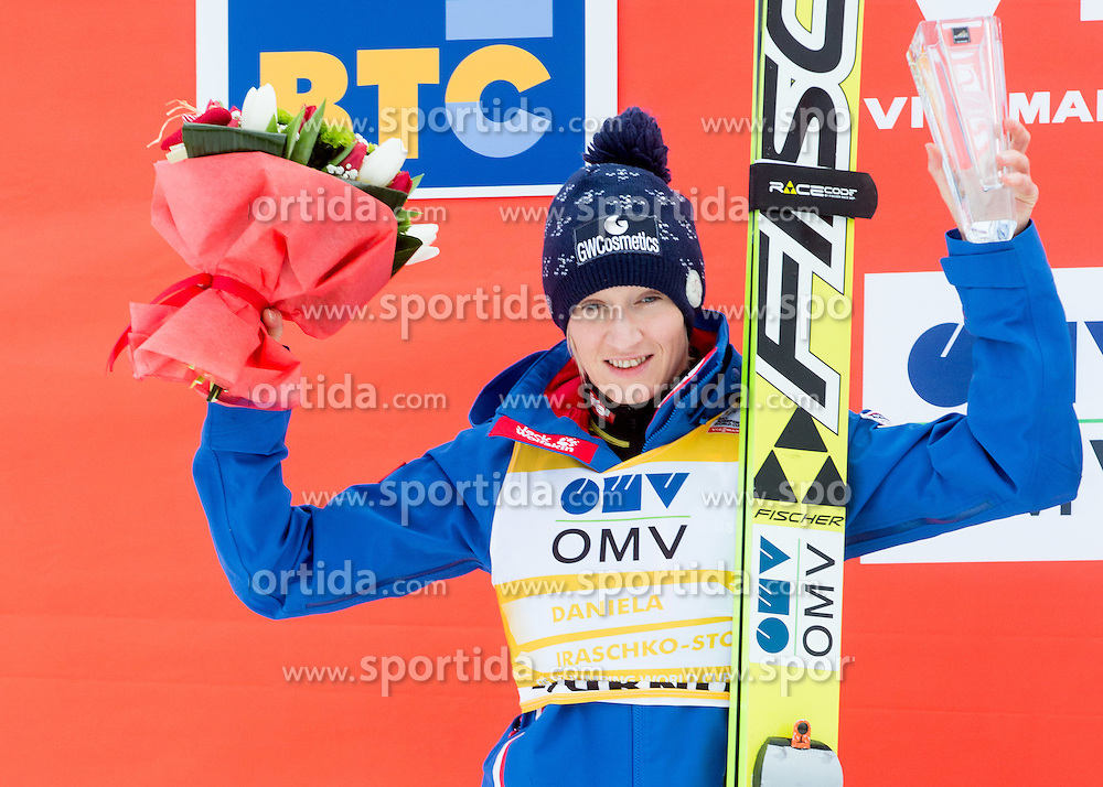 Second placed Daniela Iraschko-Stolz (AUT) during Flower ceremony after the Final Round at Day 1 of World Cup Ski Jumping Ladies Ljubno 2015, on February 14, 2015 in Ljubno, Slovenia. Photo by Vid Ponikvar / Sportida