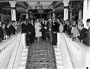 Prince Rainier and Princess Grace visit Ireland. Meeting the Lord Mayor of Dublin, Maurice Dockrell, at a reception in the Mansion House, where they presented &pound;700 to various charities..12.06.1961<br />