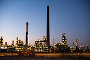 Night scenery of a refinery factory at Europort, Rotterdam. Europoort is an area of the Port of Rotterdam and the adjoining industrial area in the Netherlands.