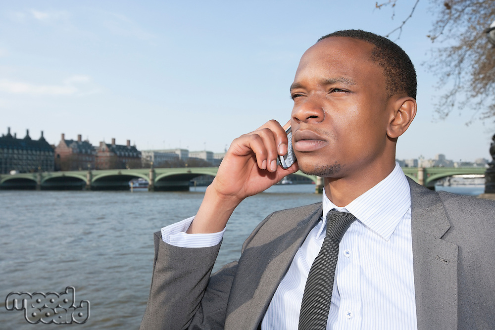 African American businessman on a call