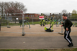 © Licensed to London News Pictures. 01/04/2020. London, UK. Outdoors gym equipment cordoned off to prevent it being used at a north London park as coronavirus lockdown continues. Photo credit: Dinendra Haria/LNP