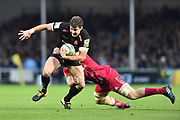 Ollie Devoto of Exeter Chiefs is tackled during the Aviva Premiership match between Exeter Chiefs and Harlequins at Sandy Park, Exeter, United Kingdom on 19 November 2017. Photo by Graham Hunt.