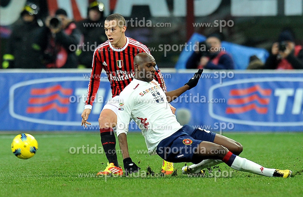 29.01.2012, Stadion Giuseppe Meazza, Mailand, ITA, Serie A, AC Mailand vs Cagliari Calcio, 20. Spieltag, im Bild Djamel MESBAH (Milan), Victor IBARBO (Cagliari), // during the football match of Italian 'Serie A' league, 20th round, between AC Mailand and Cagliari Calcio at Stadium Giuseppe Meazza, Milan, Italy on 2012/01/29. EXPA Pictures © 2012, PhotoCredit: EXPA/ Insidefoto/ Alessandro Sabattini..***** ATTENTION - for AUT, SLO, CRO, SRB, SUI and SWE only *****