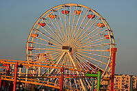 A view of the Santa Monica Pier  ferries wheel in Santa Monica ,California . A place of fun and enjoyment for tourists and local people alike.