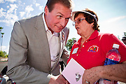 Aug 9, 2010 - SUN CITY WEST, AZ: J.D. HAYWORTH, a former US Congressman and right wing radio talk show host, talks to JAN MARTINSON during the Spending Revolt Bus stop in Sun City West, AZ. Hayworth is running against Sen. John McCain in Arizona's Republican primary. Hayworth is hoping to capitalize on the Tea Party vote, though the Arizona Tea Party has not formally endorsed him. The Spending Revolt Bus stopped in Sun City West, a retirement community northwest of Phoenix, Monday. Spending Revolt is a new coalition of taxpayers and business owners concerned about government spending. The bus is attracting Republican and Tea Party affiliated candidates to its events. The bus has crisscrossed Nevada, California and Arizona and is heading east to Washington DC.   Photo by Jack Kurtz / ZUMA Press