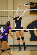 Milpitas senior Taylor Davis (16) tries to block a spike from Monta Vista High School on Sept. 10, 2012.  Milpitas would go on to lose in 4 sets, 7-25, 16-25, INSERT SCORE, 17-25.  Photo by Stan Olszewski/SOSKIphoto.