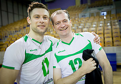 Gorazd Flisar and Saso Topovsek of Panvita Pomgrad  celebrates after winning during volleyball game between OK ACH Volley and OK Panvita Pomgrad in 1st final match of Slovenian National Championship 2013/14, on April 6, 2014 in Arena Tivoli, Ljubljana, Slovenia. Photo by Vid Ponikvar / Sportida