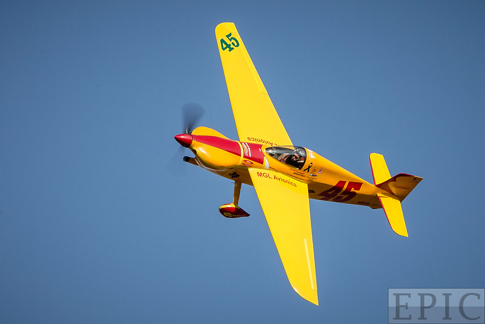RENO, NV - SEPTEMBER 15: #45 Steve Temple flies in the formula one class during the Reno Championship Air Races on September 15, 2017 in Reno, Nevada. (Photo by Jonathan Devich/Getty Images) *** Local Caption *** Steve Temple