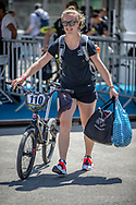 Women Elite #110 (SMULDERS Laura) NED arriving on race day at the 2018 UCI BMX World Championships in Baku, Azerbaijan.