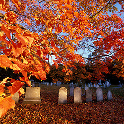 An early fall morning in a Portsmouth Cemetary.  Portsmouth, NH