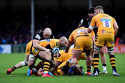 Matt Kvesic of Exeter Chiefs tackles Dan Robson of Wasps during a ruck  - Mandatory by-line: Ryan Hiscott/JMP - 30/11/2019 - RUGBY - Sandy Park - Exeter, England - Exeter Chiefs v Wasps - Gallagher Premiership Rugby
