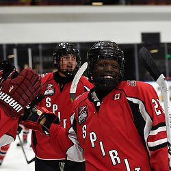 BUFFALO, NY - SEP 19,  2017: Ontario Junior Hockey League Governors Showcase game between the Stouffville Spirit and the Toronto Patriots, Wesley Weir #23 of the Stouffville Spirit celebrates the goal during the second period.<br /> (Photo by Andy Corneau / OJHL Images)