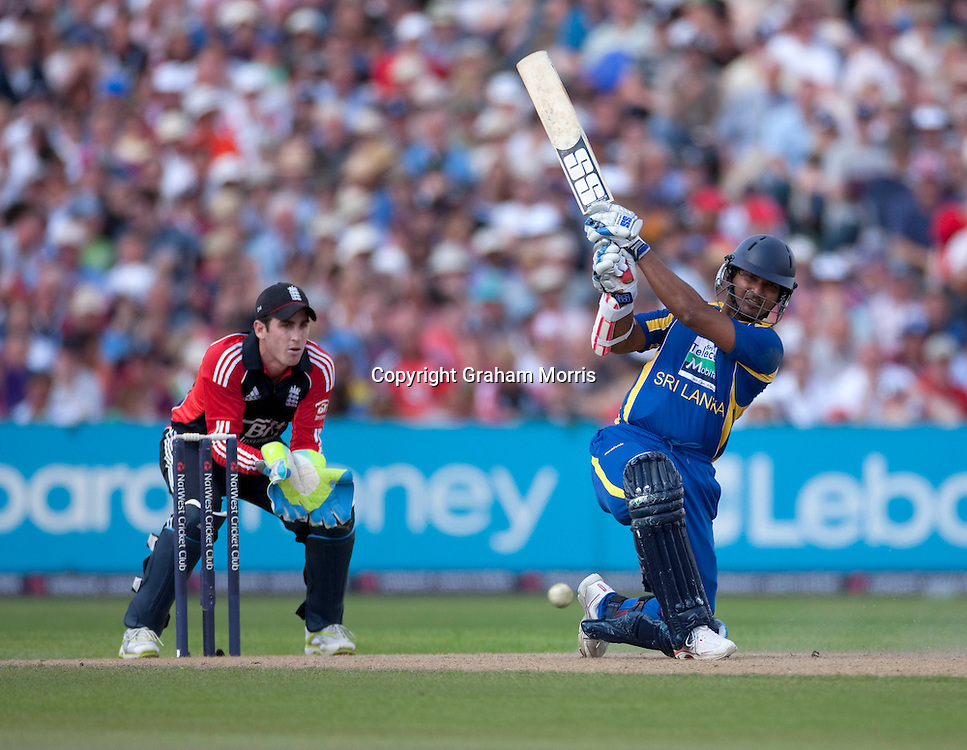 Kumar Sangakkara bats during the fifth and final one day international between England and Sri Lanka at Old Trafford, Manchester. Photo: Graham Morris (Tel: +44(0)20 8969 4192 Email: sales@cricketpix.com) 06/07/11